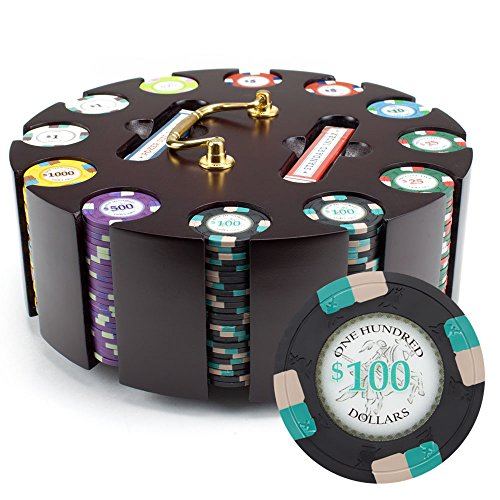 Claysmith Gaming 300ct Poker Knights Poker Chip Set in Wooden Carousel Case, 13.5g Heavyweight Clay Composite
