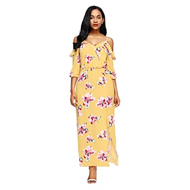 Mercantil Express Cold Shoulder Floral Print Maxi Autumn Sexy V Neck Dress Fashion Half Sleeve Front