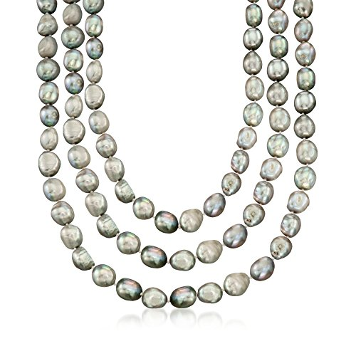 - Ross-Simons 10-11mm Gray Cultured Baroque Pearl Endless Necklace