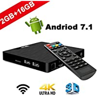 7.1 Android TV Box - J-DEAL W2 Newest Android 7.1 Smart TV Boxsets, Amlogic S905W Quad-Core, 2GB RAM &16GB ROM, 4K Ultra HD, Support Video Encoder for H.264, 2.4GHz WIFI, Web TV Box + Remote Control