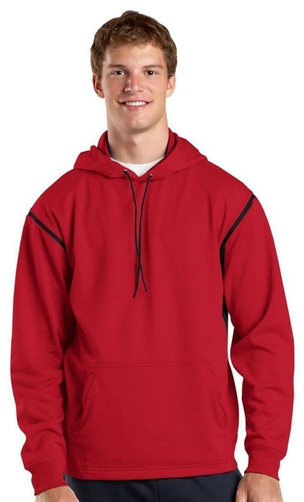Sport-Tek Tall Tech Fleece Colorblock Hooded Sweatshirt 2XLT True Red/Black by Sport-Tek