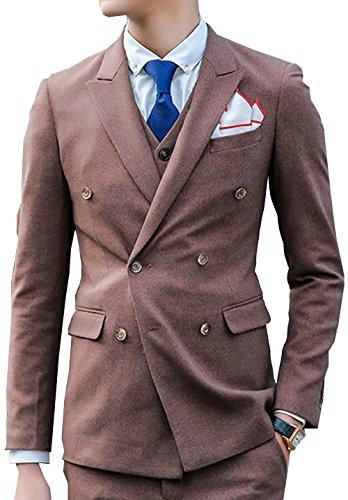 SWORLD Men's Premium Double breasted 3-piece Suit Blazer Jacket Tux Vest & Trousers - Double Suit Breasted Skirt