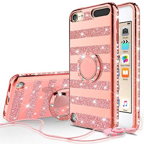 e for Apple iPod Touch 6th, 5th Generation - Bling Glitter Ring Kickstand Phone Cover ()