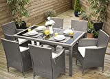 Laura James Rattan Dining Table and 6 Chairs Set (Grey)