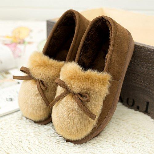 Y-Hui invierno zapatillas de algodón en mujeres Home Furnishing Pantuflas zapatos caliente suave antideslizante Foundation,40 (Código estándar),el café