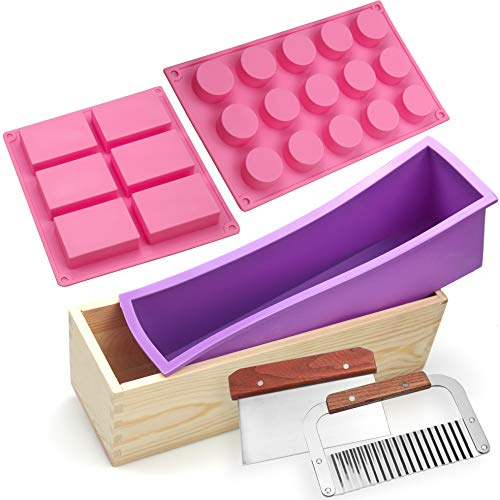 Silicone soap molds kit - 6 Cavities Biscuits Rectangular Holes Cylinder DIY Handmade Soap Loaf Mold kit,Comes with Wood Box Stainless Steel Wavy & Straight Scraper