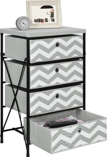 Amazon.com: Altra Furniture 4 Bin Kids Storage System With Gray And White  Chevron Pattern: Kitchen U0026 Dining