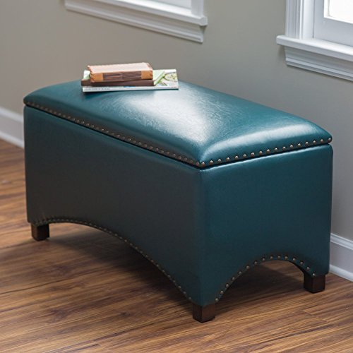 Premium Nailhead Storage Bench – Modern Leather Window Seating Organizer Home Furniture Living Room Bedroom Entryway Indoor Flip Top Teal