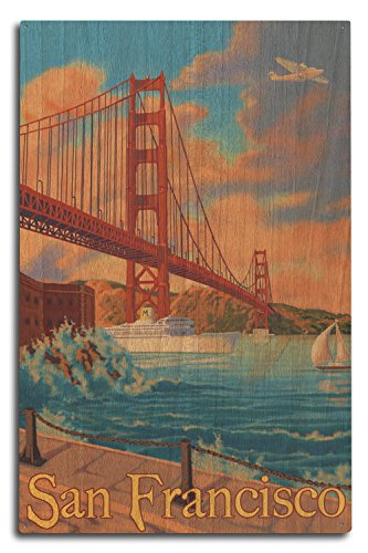 Lantern Press San Francisco, California - Golden Gate Bridge (10x15 Wood Wall Sign, Wall Decor Ready to Hang)