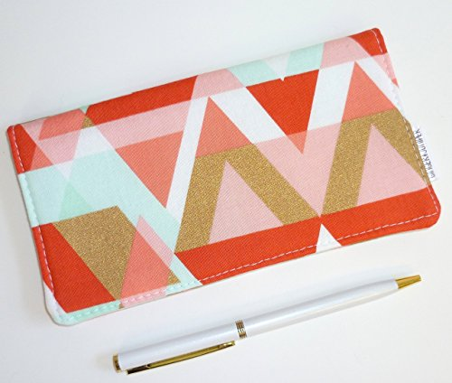 Metallic Checkbook Wallet - Checkbook Cover. Wallet. Receipt Holder - GeoTriangles in Mint, Coral, Gold