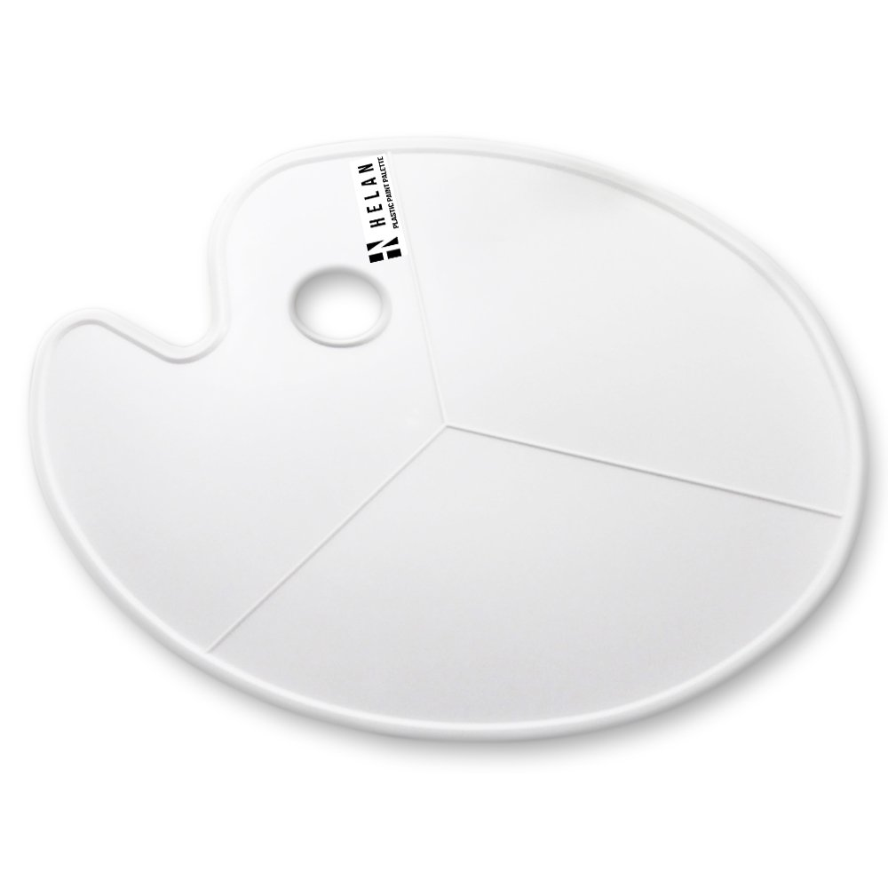Large Oval Shaped White Plastic Palette, 11.75'' x 16.5'', Non-Stick for Acrylic, Watercolor, Oil and Gouache Paint
