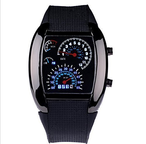 WPOS® Cool RPM Turbo Blue & White Flash Digital LED Sports Watches Gift Car Meter Dial for ()