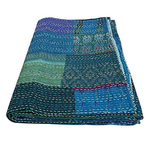 - SHUBHARAMBH ENTERPRISES Blue Patchwork Kantha Hand Stitched Cotton Kantha Bedspread Throw Blanket Indian Blanket Hippie Queen Kantha Quilt