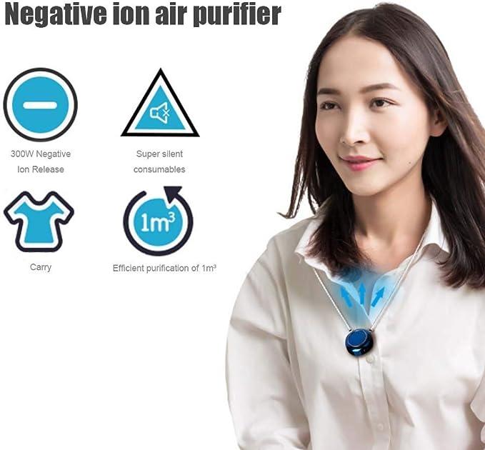 Air Purifier per Adulti Bambini HUIDANGJIA Personal di Purificatore Daria Indossabile Ricaricabile USB,Generatore di Ioni Negativi Portatile,Eliminatore di Odori Bianca