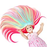 STfantasy American Girl Doll Wig Ombre Candy Highlight Multicolor Long Straight Hair