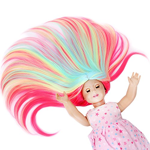 Price comparison product image STfantasy American Girl Doll Wig Ombre Candy Highlight Multicolor Long Straight Hair