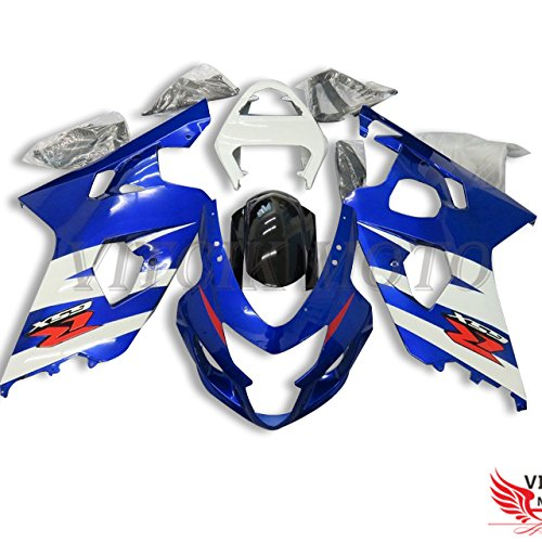 VITCIK (Fairing Kits Fit for Suzuki GSX-R750 GSX-R600 K4 2004 2005 GSXR 600 750 K4 04 05 Plastic ABS Injection Mold Complete Motorcycle Body Aftermarket Bodywork Frame (Blue & White) A120