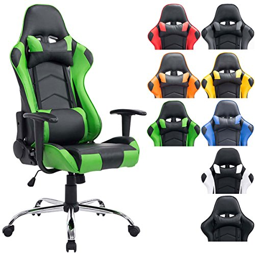 CLP Silla Racing XXL Miracle en Cuero Sintético I Silla Gaming Regulable en Altura I Silla Gamer con 2 Cojínes Removibles I Color: Negro/Verde: Amazon.es: ...