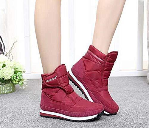 45 35 Vino Rosso Rosso Caldo Neve Scarpe Sneakers Outdoor de Boots Piatto Stivali Donna Casual Nero Uomo Invernali Morbide Impermeabile aqUTAgx