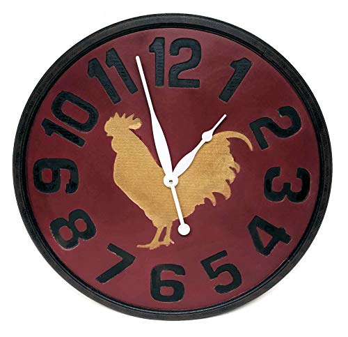 (Distinctive Designs Large Farmhouse Decor Rooster Clock, Wood, 24 inch)