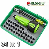34 in 1 Screwdriver Set Bits BAKU Professional Hardware Tools, PC Computer Electronic Repair Multi Tool Kit with Flexible Shaft