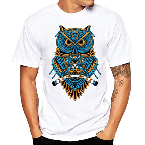 Hot Sale !Men Printing T Shirt,Simayixx Owl Graphic Design Tees Short Sleeve Blouse Top (L, White)