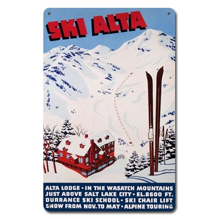 Ski Alta Metal Sign  Utah Ski Sign  Wasatch Mountain Sign  Salt Lake Ski Sign