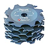 Amana Tool 61370 Prestige Mighty Super-Fine Carbide Tipped Adjustable Dado/Groover 4 D x 4 Teeth x -10 Deg Hook Angle x 1/4 to 1 Kerf x 3/4 Inch Bore x ATB Grind 7-PC Set for Shaper Machines