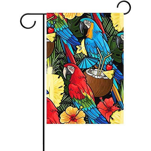 CdVeK9ca Duble Sided Colorful Macaw Parrot and Tropical Cocktail Coconut Milk Palm Tree Pineapple Flower Floral Polyester Garden Flag 12 X 18 Inches, Decorative Yard Flag for Party Home Outdoor ()