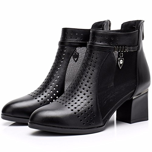 JRFBA boots boots Black short short heel chunky Women's boots Leather hole high boots Shoes boots boots boots thick atapr