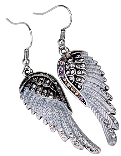Angel Jewelry Women's Crystal Angel Wings Dangle Earrings - Navy Angel Costume
