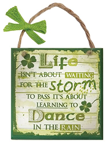 Carrolls Irish Gifts Rustic Ireland 'Life Storm' Wooden Plaque With A Green & White Wooden Design ()