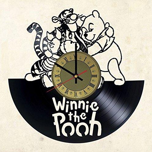 Teddy Bear Wall Clock - Winnie Pooh teddy bear vinyl wall clock - handmade artwork home bedroom living kids room nursery wall decor great gifts idea for birthday, wedding, anniversary - customize your (Gold/Black)