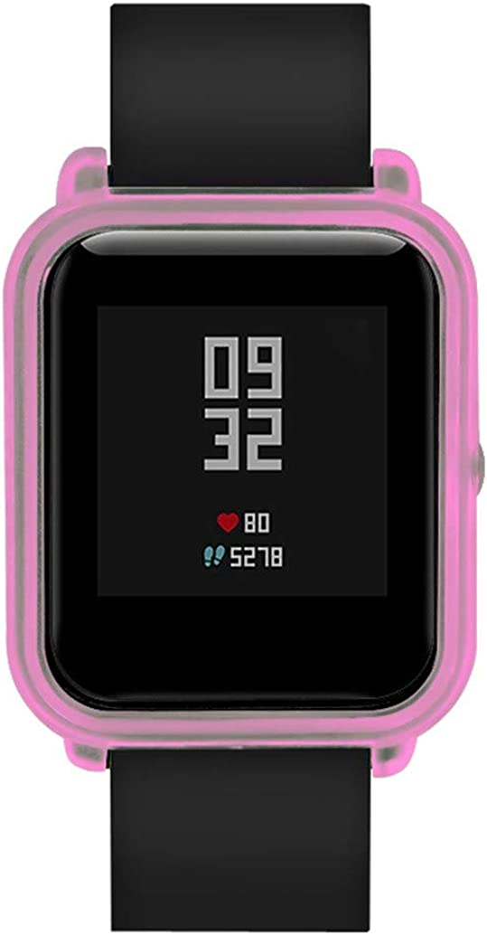 Simayixxch Soft Silicon Case Cover for Huami Amazfit Bip Youth Watch with Screen Protector,Apply to Mechanical Quartz