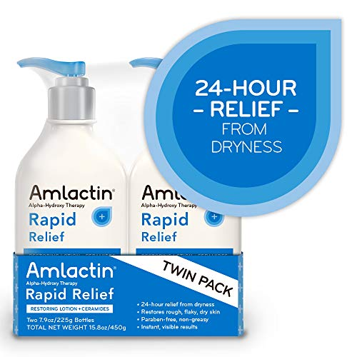 AmLactin Rapid Relief Restoring Lotion + Ceramides | 24-Hr Dryness Relief | Powerful Alpha-Hydroxy Therapy Gently Exfoliates | Lactic Acid (AHA) | Rough Flaky Dry Skin | Twin Pack (2) 7.9 oz. Bottles by AmLactin (Image #4)