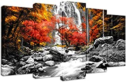 related image of Visual Art Decor Black White Red Canvas