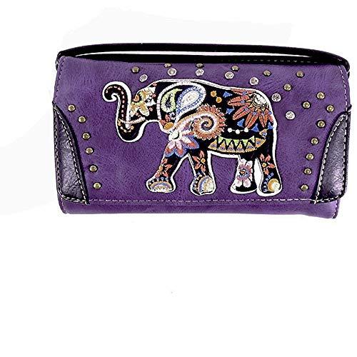 Embroidered Elephant Western Wristlet Wallet w/Long Strap (purple)