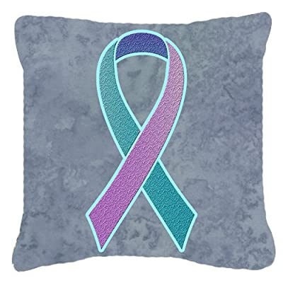 Caroline's Treasures AN1217PW1818 Teal, Pink and Blue Ribbon for Thyroid Cancer Awareness Canvas Fabric Decorative Pillow, 18H x18W, Multicolor : Garden & Outdoor