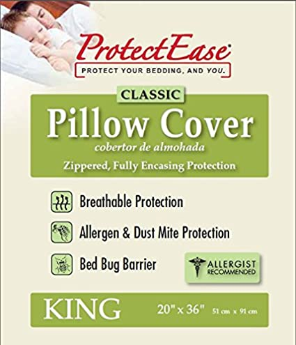 ProtectEase® Premium Waterproof Zippered Pillow Cover White