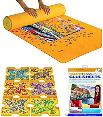 EuroGraphics Puzzle Accessory Kit: Roll /& Go Sorting Trays Sticky Sheets Yellow