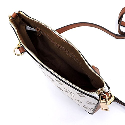 chain with Tan mini handbags signature Ivory bags detailed Monogrammed cross body shoulder ao g0x4q
