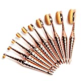 Micup Oval Makeup Brush Set 10Pcs Diamond Shape Mermaid Professional Toothbrush Oval Powder Cream Liquid Foundation Contour Concealer Eyeliner Blending Cosmetic Brushes Tool Kit (Rose Gold)