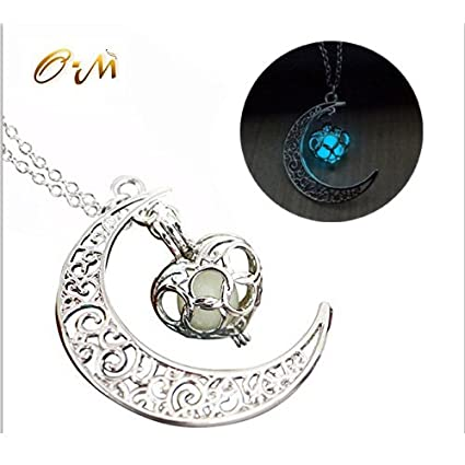 Amazon onairmall luminous series moon love heart pendant onairmall luminous series moon love heart pendant necklace fluorescent necklace glow in the dark aloadofball Images