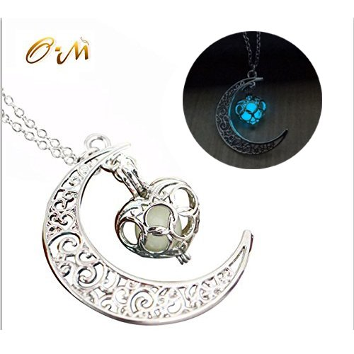 Onairmall Luminous Series Moon Love Heart Pendant Necklace Fluorescent Necklace, Glow in the Dark (Blue)