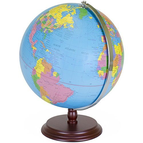 World Globe   12 Inch Desktop Atlas with Antique Stand   Earth with Political Maps + Blue Oceans for Educational Geography   Classic Globo Vintage Spinning Perfect for Geographical National Kids Toys