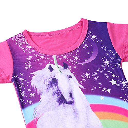 84d8b4150aea8 Freebily Enfant Fille Pyjama Chemise de Nuit Licorne Robe Imprimé Manches  Courtes Arc-en-