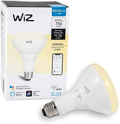 WiZ IZ0087521-2 65 Watt EQ BR30 Smart WiFi Connected LED Light Bulbs Compatible with Alexa and Google Home, no Hub Required, Dimmable Soft White, 2 Piece