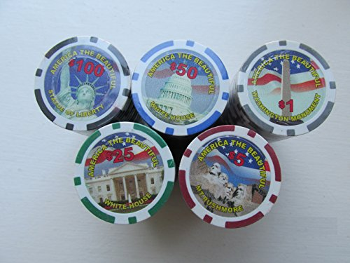 America the Beautiful 11.5-Gram Poker Chip Set 500 Pieces with Upgraded Aluminium Silver Case