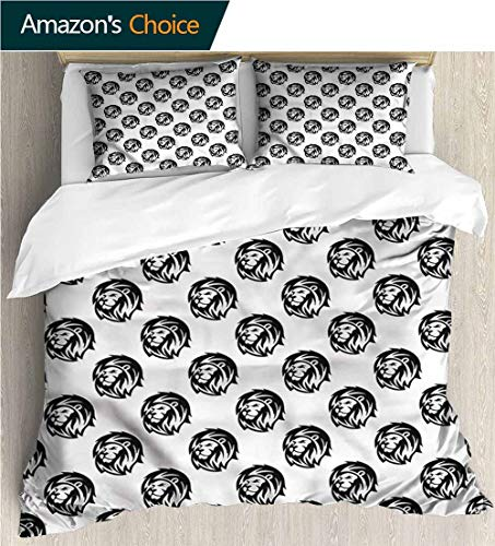 carmaxs-home Print Comforter Quilt Set,Box Stitched,Soft,Breathable,Hypoallergenic,Fade Resistant with 2 Pillowcase for Kids Bedding-Lion Tribal Tattoo Style Portrait (90