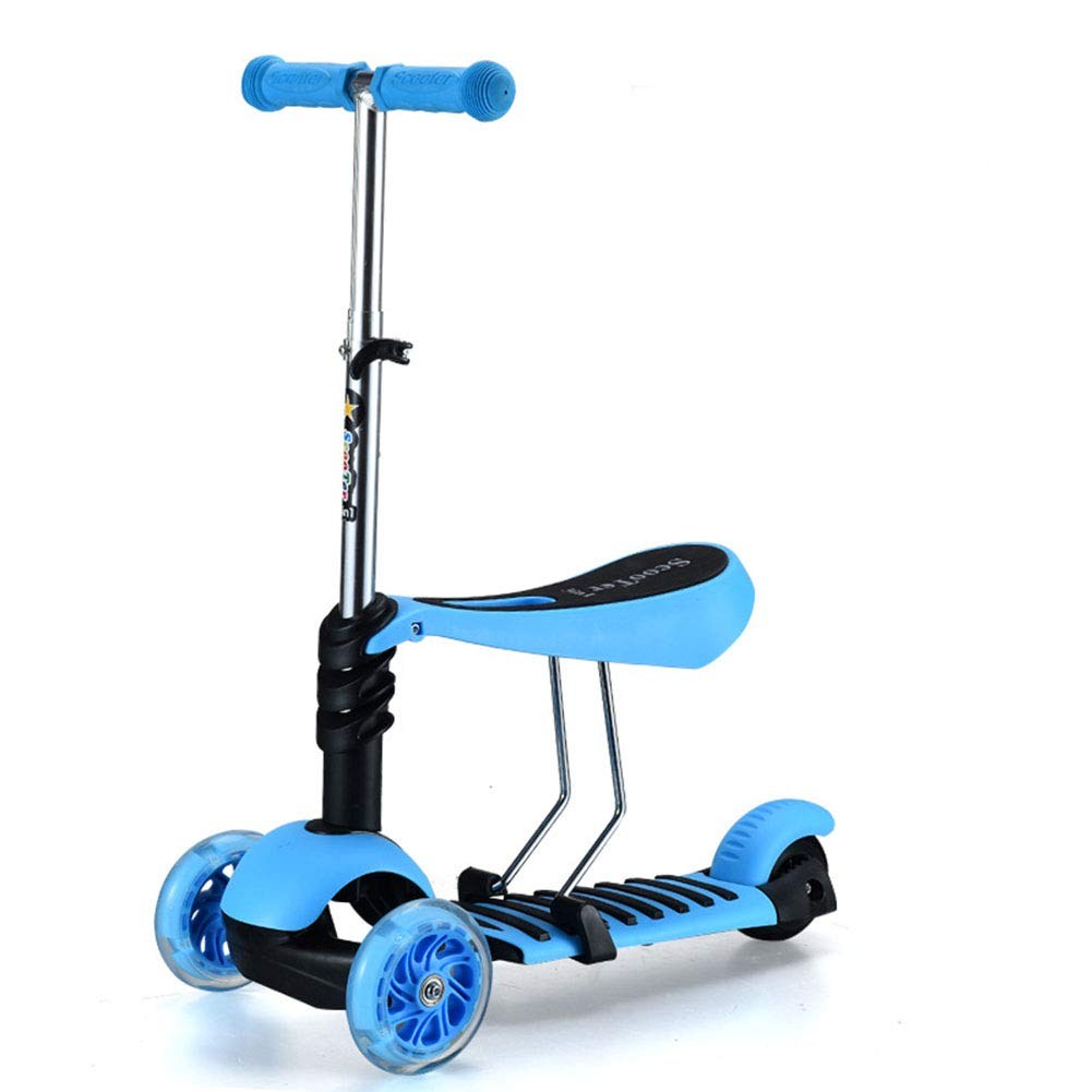 キックスクーター子供のスクーター座席付き4輪フラッシュ2-6歳の赤ちゃん/初心者 B07PS5GMP4  blue